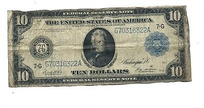 "1914 - Ten Dollar ($10.00) Large Federal Reserve Note - Blue Seal-""7-G"" - ""Good"""