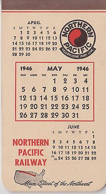 1946 Northern Pacific Railroad Day Calendar Notepad 5/46 Yellowstone Park Line