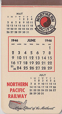 1946 Northern Pacific Railroad Day Calendar Notepad 6/46 Yellowstone Park Line