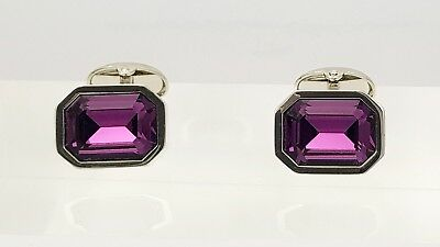 Swarovski Amethyst Crystal cufflinks by Ian Flaherty Cufflinks,Octagon cufflinks