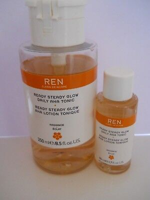 REN READY STEADY GLOW DAILY AHA TONIC 250ml (approx 15% used) & 30ml travel mini