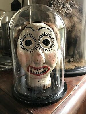 Antique Folk Art Carved & Painted Wooden Punch & Judy Puppet Head in Glass Dome