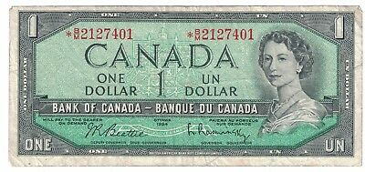 1954 Canada Dollar Beattie Rasminsky BC-37bA-i *B/M 2127401 Replacement Note
