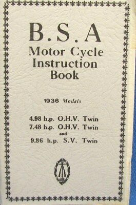 1936 BSA Motor Cycle Instr. Book For 4.98 hp OHV Twin-7.48hp OHV Twin 9.86 hp SV