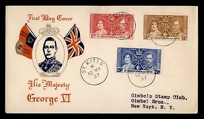 DR WHO 1937 FDC ST CHRISTOPHER & NEVIS CORONATION KING GEORGE VI  d37452