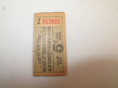VTG NYC INTERBOROUGH RAPID TRANSIT Subway Division Tickets 5 Cents CONDUCTOR Z