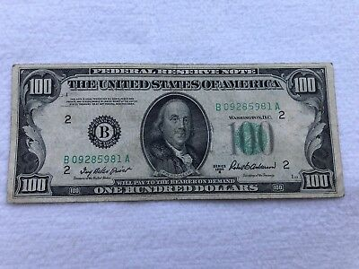 100 US Dollar Banknote Federal Reserve Note Series 1950 B SELTEN