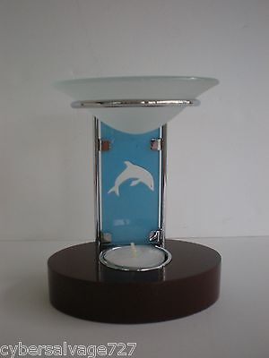 Dolphin Oil Warmer Tea light Candle Holder Aromatherapy Stained Glass Frosted