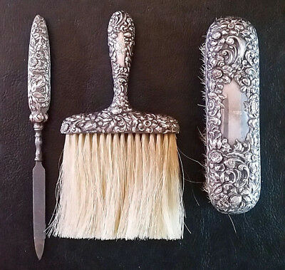 Antique Art Nouveau Sterling Silver Vanity Set Brush Valet Fingernail File