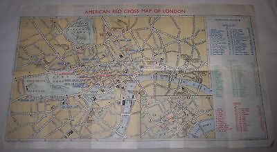 """American Red Cross Map of London England 1940's vintage antique map 11"""" by 19"""""""