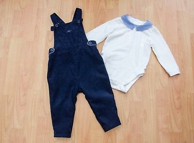 Boys Bundle age 9-12 Months. Navy Dungarees & Top Mothercare