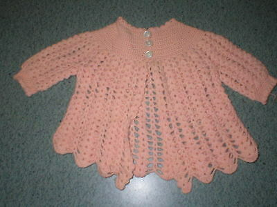 Vintage Baby or Doll Sweater 1940s 1950s Pink Hand Crochet Jacket