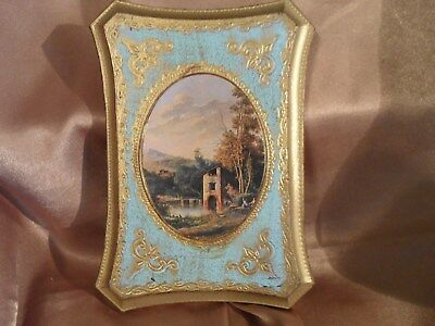 Vintage Florentine Wood Plaque- Turquoise And Gold- Scenic Print- Italy