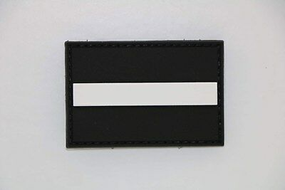 Klettpatch Rubberpatch ca.6x4 cm thin white line, Rettungsdienst white Family