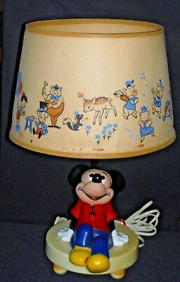 Authentic Vintage 1960 Mickey Mouse 3-way Desk Lamp w/Shade & Nightlight Plastic