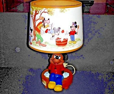 Authentic Vintage 1981 Mickey Mouse 3-way Desk Lamp w/Shade & Nightlight Plastic