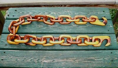 "VINTAGE  Carved Wooden Chain WHIMSEY All One Piece! 44"" long 22 links Two Hooks"