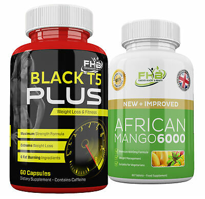 T5 BLACK Strong Diet Pills + AFRICAN MANGO Slimming Tablets LEPTIN Fat Burning