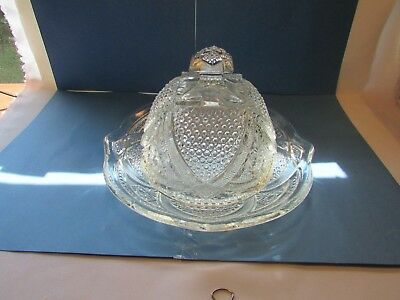 """Vintage  Cut Crystal Large Cheese or Butter Dish With Covered dome 6"""" 8"""" Base"""