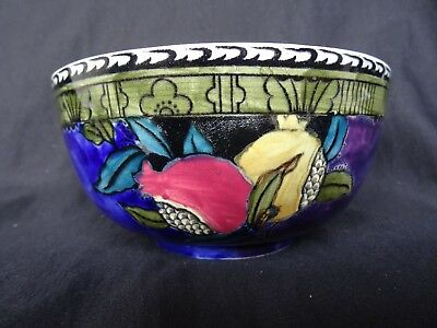 S Hancock Rubens Ware Pomegranite Bowl, 1930's hand painted