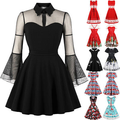 Women's Vintage Mesh Queen Black Ladies Winter Party Halloween Skater Dress 8-22