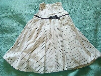 George Girls black and white spotty summer Dress 18-24 months