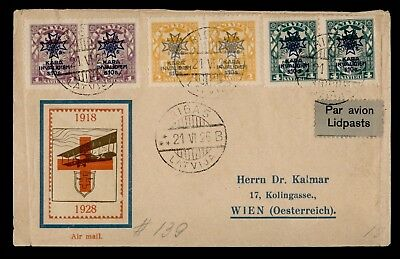 Dr Who 1926 Latvia To Austria Multi Franked Air Mail C39293