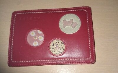 RADLEY used red mix real leather card holder