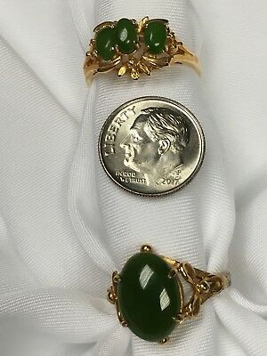 Ring 1970s Women's Vintage Jade Costume Jewelry  Size 8 1/2 Lot Cocktail