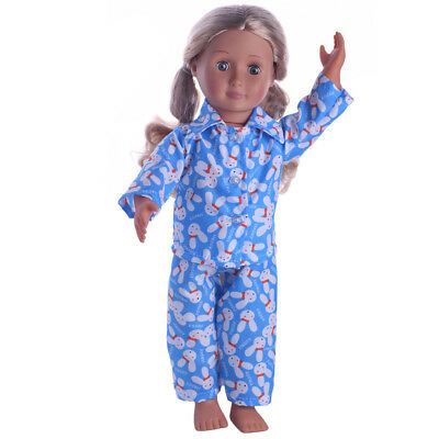 Blue Pajamas Sleepwear Clothes Fit 18'' Our Generation American Girl Doll #D