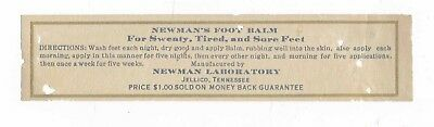 VERY RARE OLD NEWMAN LABORATORIES BOTTLE LABEL from JELLICO, TENNESSEE