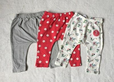 ***BNWT Next baby girl Ditsy/Pink/Striped leggings 3 pack set 6-9 months***