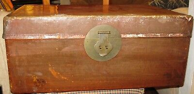 Antique Chinese Wooden Trunk Lacquered Pigskin 19th Century