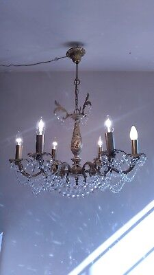 Antique Vintage Rococo Ceiling Light Fixture Brass Crystal Chandelier Lighting