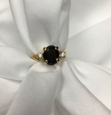 Garnet Ring Women's Cocktail Diamond Avon Vintage Costume Size 5 18k HGE