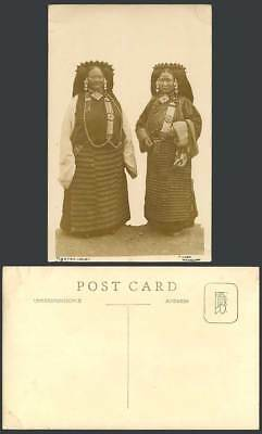 TIBET China Old Real Photo Postcard Native Tibetan Ladies Women Tradit. Costumes