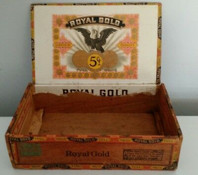 Antique Rare Royal Gold Wood Cigar Box Nice Inner Label