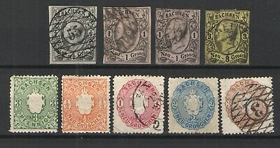 German States - Saxony 1855-1863 lot MH/Used VG/F - great lot