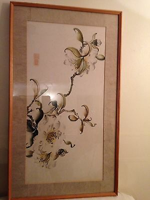 Beautiful Vintage Japanese Water Color Signed Painting On Rice Paper