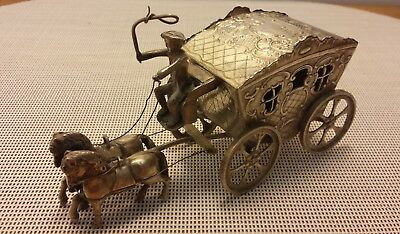 Victorian Silver Large Coach, Coachman & Two Horses - Hallmarked