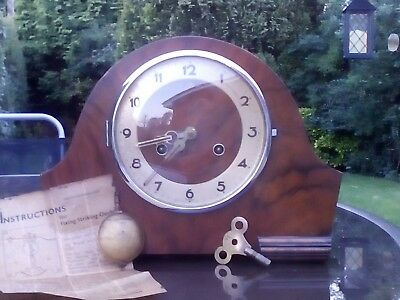Super Vintage Wooden Chiming Mantle Clock. Working.