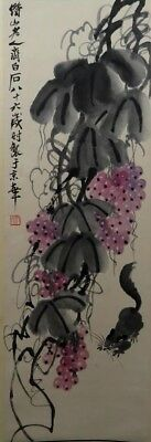 RARE Chinese 100%  Handed Painting & Scroll Grape By Qi Baishi 齐白石 葡萄813A1