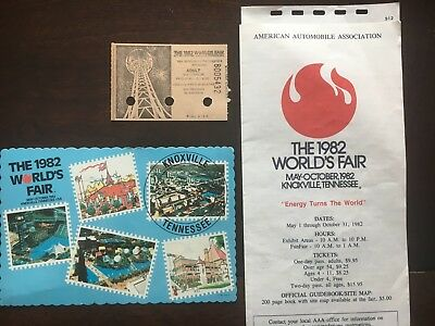 Knoxville Tennessee 1982 Worlds Fair Vintage UNUSED Post Card, Ticket, Guide.