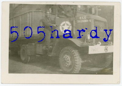 WWII US GI Photo - 7th Army 43rd Ord Marked Autocar w/ Benz Emblem - TOP!