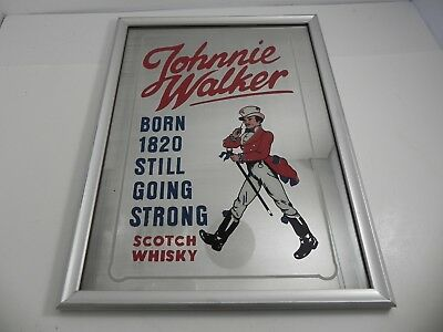 Johnnie Walker Scotch Whiskey Bar Mirror Ad Sign Framed Born 1820 Going Strong