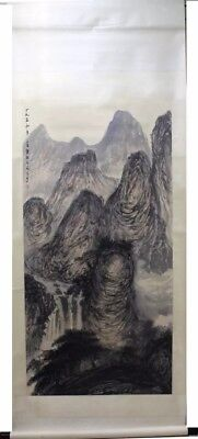 LARGE RARE  Chinese 100% Hand Painting & Scroll Landscape By Fu Baoshi 傅抱石 813LB