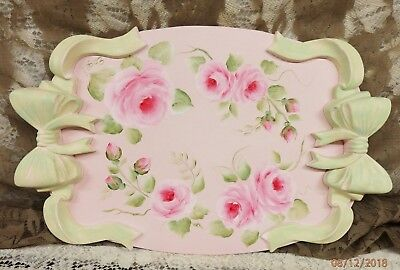 Shabby Cottage Hand Painted Vanity Tray - Hp Roses Big Bows  On Ea End Charming