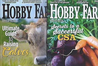 Lot of 2 Hobby Farms Magazine June & August 2017 Raising Calves Gardens Honey