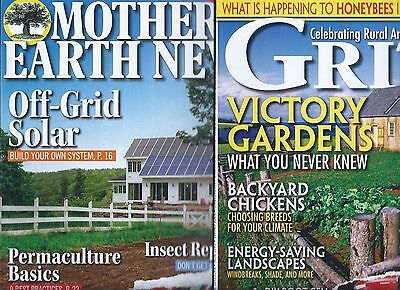Lot of 2 2017 Magazine Mother Earth News & Grit Solar Systems Victory Gardens