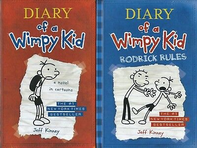 Lot 2 Jeff Kinney Books! Diary of a Wimpy Kid & Roderick Rules Both Hardcover!!!